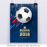 FIFA World Cup 2018 Banner Concept. Ad text and soccer ball. Editable vector background template Stock Image