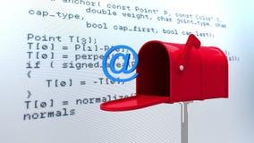 Ad uscire da cassetta della posta con vocabolario di Internet su fondo illustrazione vettoriale