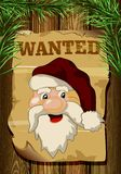 This ad is wanted Santa on a wooden background. Stock Images
