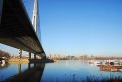 Ada桥梁塔在贝尔格莱德,塞尔维亚 免版税库存照片
