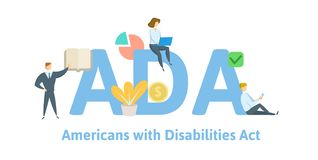ADA, Americans with Disabilities Act. Concept with keywords, letters and icons. Flat vector illustration. Isolated on royalty free illustration