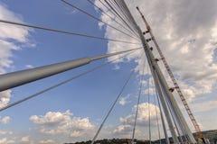 Ada-Brücke auf Fluss Sava, Belgrad, Serbien Lizenzfreies Stockbild