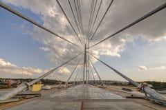 Ada-Brücke auf Fluss Sava, Belgrad, Serbien Lizenzfreies Stockfoto