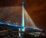 Ada bridge, Belgrade. Night picture. Royalty Free Stock Image