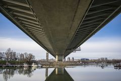 Ada bridge over sava river in Belgrade stock photo