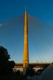 Ada cable bridge at golden hour in Belgrade Stock Image