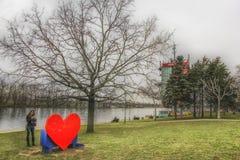 Ada Ciganlija, heart bench Royalty Free Stock Image