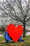 Ada Ciganlija, heart bench Royalty Free Stock Photos