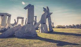 Ada-ciganlija See, stonehenge, Dunsteffekt Stockfotos