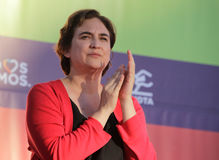 Ada Colau Major of Barcelona gesturing at political rally. Ada Colau gestures during a meeting in the island of Mallorca Stock Photo