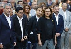 Ada Colau Major de Barcelone aux célébrations de diada de la Catalogne photos stock