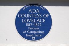 Ada Countess da chapa azul de Lovelace em Londres imagens de stock royalty free