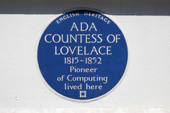 Ada Countess of Lovelace blue Plaque in London. LONDON, UK - JUNE 14TH 2017: A blue plaque marking the location where Ada Countess of lovelace lived in St royalty free stock images