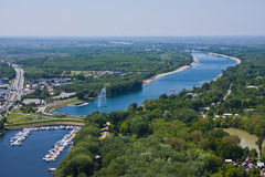 Ada lake in Belgrade. Aerial view of Ada Ciganlija lake in Belgrade, Serbia Stock Images