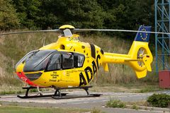 ADAC air rescue helicopter. The ADAC (Allgemeiner Deutscher Automobil-Club e.V.) is Germany's and Europe's largest automobile club, with more than 18 million royalty free stock photo