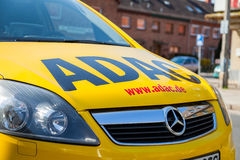 ADAC breakdown service car stands on a street. NEUBRANDENBURG/ GERMANY - 1 MAY 2016: an ADAC breakdown service car stands on a street in Neubrandenburg, Germany Stock Images