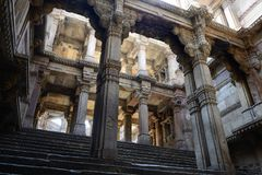Adalaj Stepwell in Ahmadabad, India. India, Adalaj Stepwell is a Hindu water building in the village of Adalaj, close to Ahmedabad town in the Indian state of Stock Photos