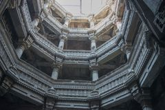 Adalaj Wav or Step Well at Ahmedabad. Ancient step well of 18th century build for resting and quenching thirst for traveler Stock Photo