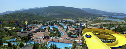 Adaland Panorama. View over the Adaland Aquapark, near Kusadasi, Turkey. In an area of over 25 hectares, with a magnificent view of the Aegean Sea, tourists find Royalty Free Stock Photo