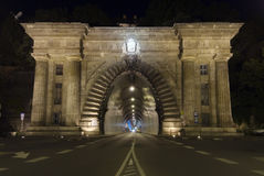 Adam Clark Tunnel. In Budapest, Hungary at night Royalty Free Stock Photography