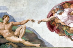 Adam Creation in Sistine Chapel. The Creation of Adam in Sistine Chapel, Vatican Museum. Some filtering and distortion visible due to lighting conditions, we Stock Image