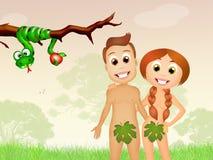 Adam drôle et Ève illustration libre de droits