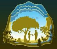 Adam e véspera Jardim de Eden A queda de homem Arte de papel ilustração royalty free