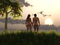 Adam en Vooravond in Eden Stock Afbeeldingen