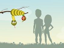 Adam en Vooravond met het fruit van zonde royalty-vrije illustratie