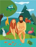 Adam and Eva in Eden Garden. Illustration of Adam and Eva near the river in Eden Garden, surrounded by animals Royalty Free Stock Photography