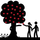 Adam and Eva. Adam and Eve takes a apple from tree. It is a stick figure vector. EPS10 stock illustration