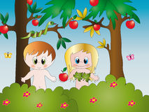Adam and Eve. Illustration of Adam and Eve in the Garden of Eden Royalty Free Stock Images
