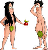 Adam and Eve. Eve offers Adam the apple, vector vector illustration