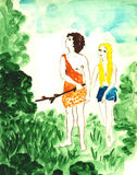 Adam and Eve. In Garden of Eden Stock Images