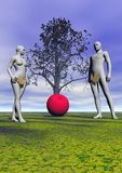 Adam and eve and apple. And sky vector illustration