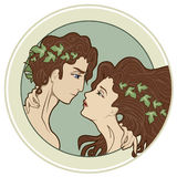 Adam and Eve. Couple of lovers in art-nouveau style Stock Image