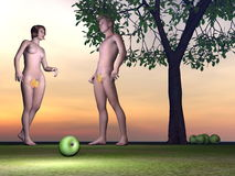 Adam and Eve - 3D render Stock Image