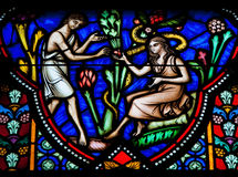 Adam and Eve. Eating the Forbidden Fruit in the Garden of Eden on a stained glass window in the cathedral of Brussels Royalty Free Stock Images