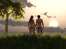 Adam and Eve in eden Stock Images