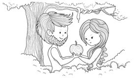 Adam and Eve. In Eden holding an apple Stock Photo