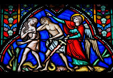 Adam and Eve. Expelled from the Garden of Eden on a stained glass window in the cathedral of Brussels, Belgium Royalty Free Stock Photo