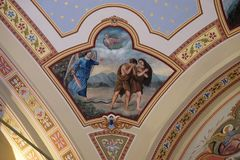 Adam and Eve expelled from Paradise. Fresco in the church of Saint Matthew in Stitar, Croatia Royalty Free Stock Images