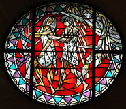 Adam and Eve expelled from paradise. A stained glass photo of adam and eve stock photography