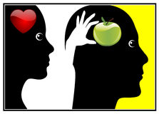 Adam and Eve. Eve gave the fruit from the tree of knowledge to Adam out of love royalty free illustration