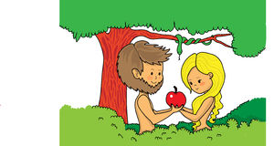 Adam and Eve holding apple. Cute vector illustration of Adam and Eve in Eden garden with apple Stock Image