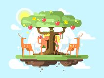 Adam and Eve near a tree Royalty Free Stock Photos
