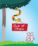 Adam and Eve in paradise. An illustration of a snake holding and out of stock sign. Additional vector format is available to download Stock Images