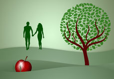 Adam and Eve silhouette Stock Photography