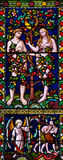 Adam and Eve. A stained glass photo of Adam and Eve Royalty Free Stock Photos