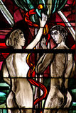 Adam and Eve in stained glass Royalty Free Stock Photo